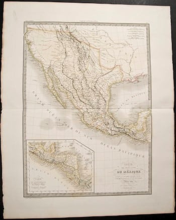 Pierre M. Lapie, French cartographer, old map, old Mexico, North American map, Mexico, American history, Mexican history, original map, business art