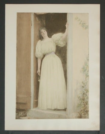 French art, French posters, business art, woman in doorway