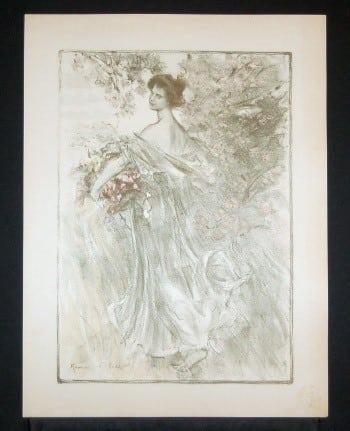 Art Nouveau, woman gathering flowers, French posters, business art