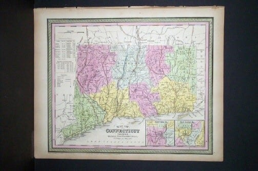 S. Augustus Mitchell, old map, Connecticut, map of Connecticut, American map, original map, business art, cartography