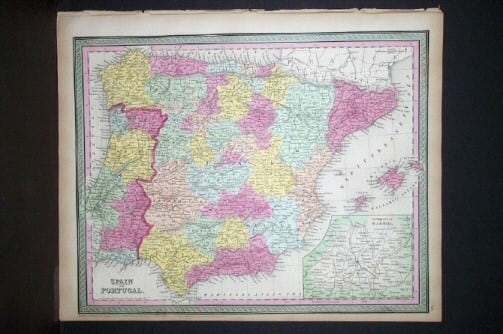 S. Augustus Mitchell, old map, Spain, Portugal, map of Spain, map of Portugal, European map, original map, business art, cartography, Spanish map