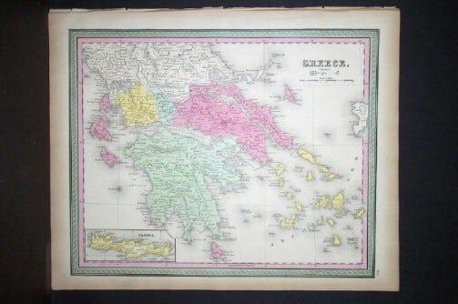 S. Augustus Mitchell - original map, business art, Greece, map of Greece, ancient Greece