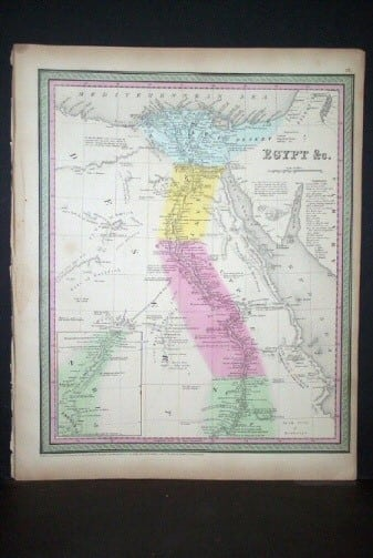 S. Augustus Mitchell, old map, Egypt, map of Egypt, African map, original map, business art, cartography