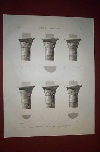 Napoleon, Napoleans art, Thebes, ancient Egypt, Egyptian architecture, copperplate engravings, business art, architecture, Egyptian pillars