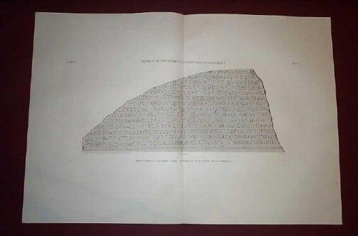 Napoleon, Thebes, ancient Egypt, hieroglyphs, hieroglyphics, Egyptian plate, copperplate engraving, business art, Egyptian art