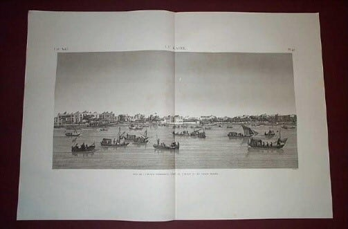 Napoleon, Napoleans art, Thebes, ancient Egypt, Nile River, riverboats, copperplate engravings, business art