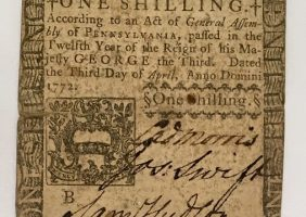 18th century currency, U.S. Dollars - One Shilling Note, 1772